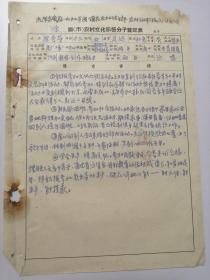 1957年滁县农村俱乐部、农村文化积极分子登记表(优秀事迹)