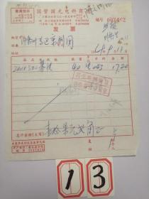 上海老字号:1969年国营国光电料商店发票(基片)最高指示