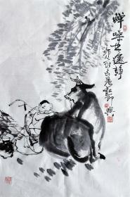 吴永良(蝉鸣林逾静)人物小中堂 手绘国画作品