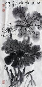 霍春阳 花鸟中堂(白兰香清) 手绘国画 天然包浆 老纸老墨