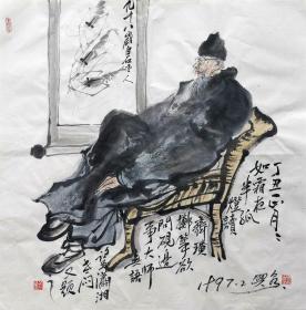 刘兴泉 人物斗方(白石老人) 手绘国画作品
