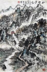 朱恒 山水小中堂 手绘国画作品(幽壑云泉)