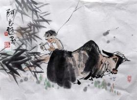 吴永良 牧童 人物斗方 手绘国画作品