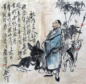 刘兴泉 人物斗方(板桥诗意) 手绘国画作品