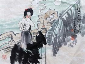 吴永良(焚香祈平安)人物斗方 手绘国画作品