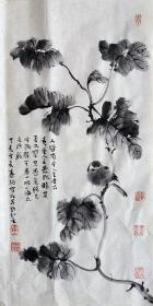 霍春阳 花鸟中堂(水墨花鸟) 手绘国画 天然包浆 老纸老墨