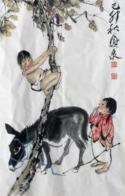 刘兴泉 人物小中堂(夏日) 手绘国画作品