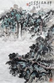 朱恒 山水小中堂 手绘国画作品(翠壁飞泉)