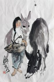 刘兴泉 人物小中堂(妞妞) 手绘国画作品