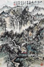 朱恒 山水小中堂 手绘国画作品收藏(高山水长)
