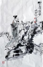 吴永良(闲庭信步)人物小中堂 手绘国画作品
