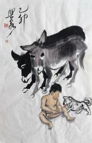 刘兴泉 人物小中堂(狗娃) 手绘国画作品