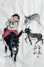 刘兴泉 人物小中堂(笛声) 手绘国画作品