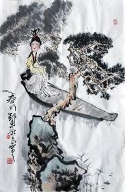 吴永良(春水)人物小中堂 手绘国画作品