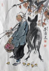 刘兴泉 人物小中堂(收获) 手绘国画作品