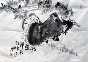 吴永良 (牧憩) 人物横幅 手绘国画作品