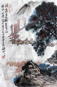 潘韵  山水小中堂 (洞庭东山归)手绘国画作品收藏