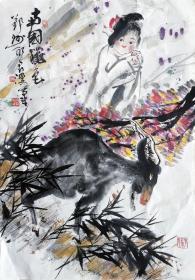 吴永良(南国秋色)人物小中堂 手绘国画作品