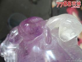 晚清民国天然紫水晶寿桃镇纸