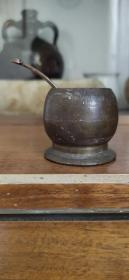 民国铜水盂,砚滴