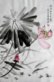 【保真】李东方国画写意荷花 物美价廉受青睐!编号09477