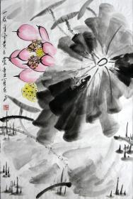 【保真】李东方国画写意荷花 物美价廉受青睐!编号09456