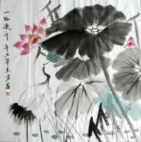 【保真】李东方国画写意荷花 物美价廉受青睐!编号09602