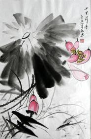 【保真】李东方国画写意荷花 物美价廉受青睐!编号09475