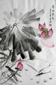 【保真】李东方国画写意荷花 物美价廉受青睐!编号09479