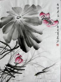 【保真】李东方国画写意荷花 物美价廉受青睐!编号09468