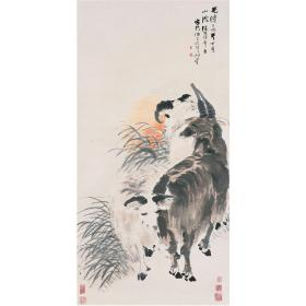 清 任伯年 三羊开泰图  87x43cm中国画高清微喷复制