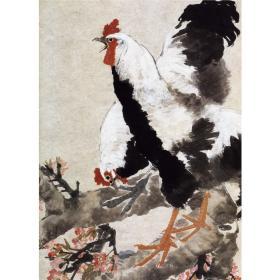 清 任伯年 桃花双鸡图  69×49cm中国画高清微喷复制