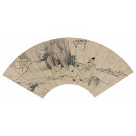 清  任伯年 扇面人物  54×25cm中国画高清微喷复制