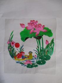 早期 家具漆花卉用的印花纸(塑制)荷花.鸳鸯.双喜图