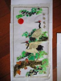 早期 家具漆花卉用的印花纸(塑制)《松龄鹤寿》【全新未用.因垫纸拼弄拍的】