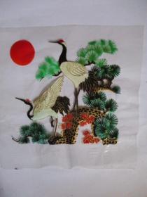 早期 家具漆花卉用的印花纸(塑制)松鹤图