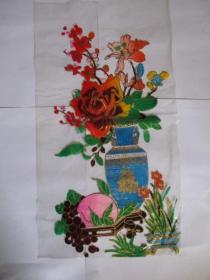 早期 家具漆花卉用的印花纸(塑制)福字花瓶.仙桃图案【全新未用.因垫纸拼弄拍的】