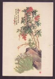 1956年 老画片水仙与天竹 陈半丁作