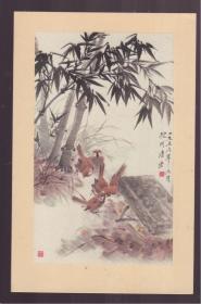 1957年 老画片   竹雀   唐云作