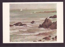 1956年 老画片  青岛海滨 吕品作