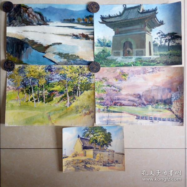 文革知青水粉画油画5张纯手绘非印刷品100元