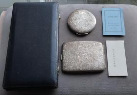 老银器精美手工雕刻唐草纹图案纯银烟盒银粉盒一套