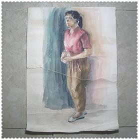 精美的文革手绘人物水彩画