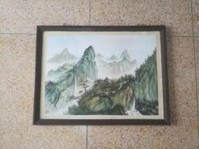 非常精美的手绘山水纹大幅木板旧油画