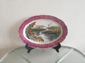 春江帆影*大气美雅的八十年代手绘大瓷盘