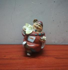 趣味可爱的财神爷瓷塑像小摆件