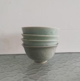 四只漂亮的文革龙泉青瓷碗