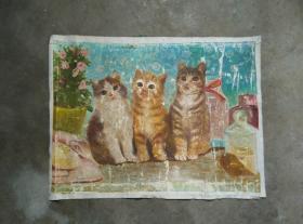 可爱的手绘猫咪老油画