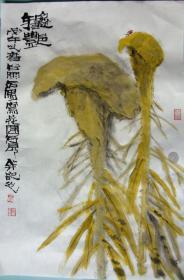 舒传曦一副,鸡冠花,现代手法。尺寸70×46CM