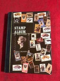 老集邮册一本,内装邮票多及烟标---软包香烟(烟盒)封口标签(烟封)